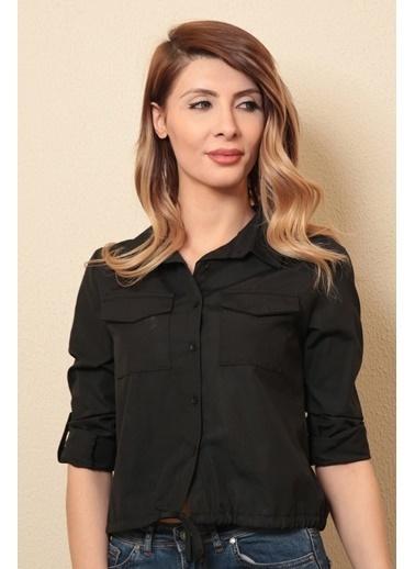 Reyon Uzun Kollu Kadın Gömlek  Siyah Siyah